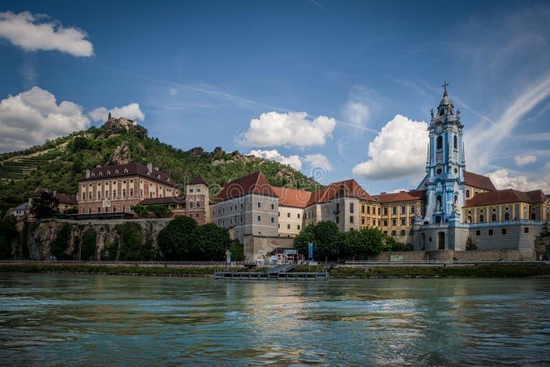 Stad av den Durnstein Wachau dalen Österrike royaltyfri fotografi