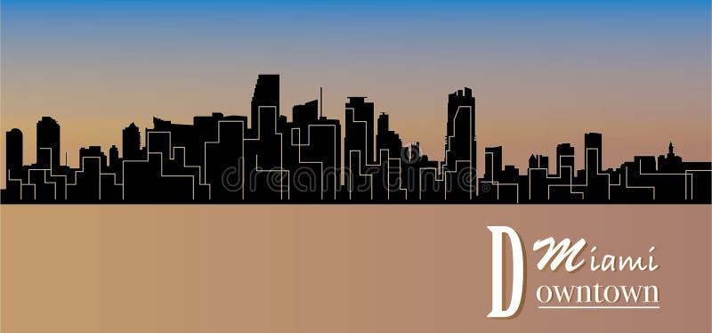 Stad av den Miami konturn - - scalable - livlig färg - byggnader - affisch vektor illustrationer