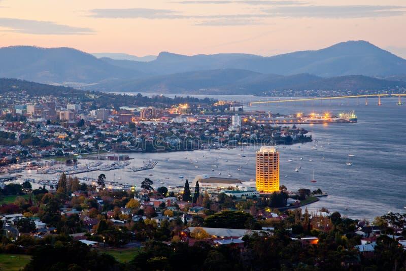 Stad av Hobart. Tasmanien. Australien. royaltyfria bilder