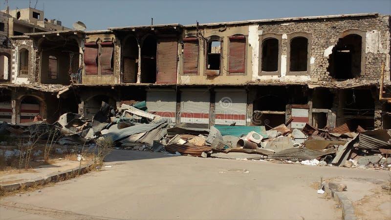 Stad av homs efter krig royaltyfri foto
