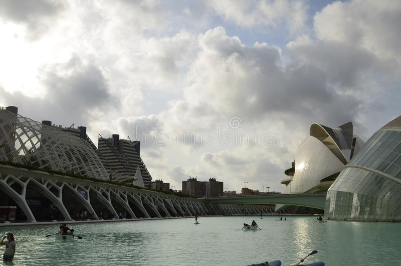 Stad av konster och vetenskaper, Valencia, Spanien Augusti 16 2017 arkivfoto