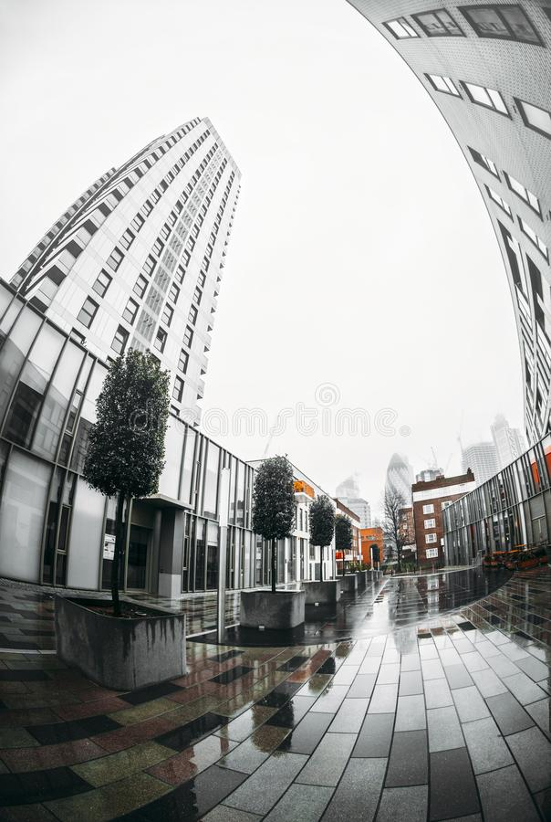Stad av London finansiell områdeshorisont royaltyfri foto