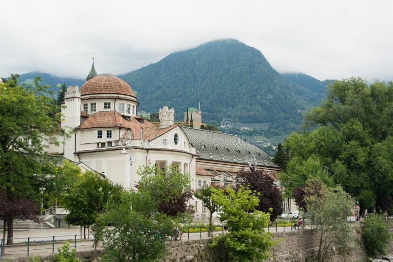 Stad av Merano i Italien, södra Tyrol arkivbild