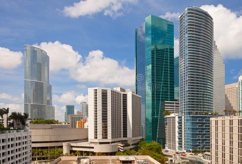 Stad av Miami, Florida i stadens centrum byggnadscityscape arkivbild