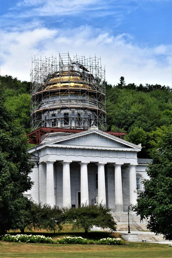 Stad av Montpelier, Washington County, Vermont, Förenta staterna, huvudstad arkivfoton