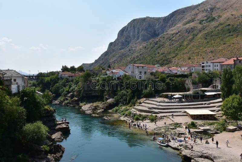 Stad av Mostar hjärta av Hercegovina arkivbilder