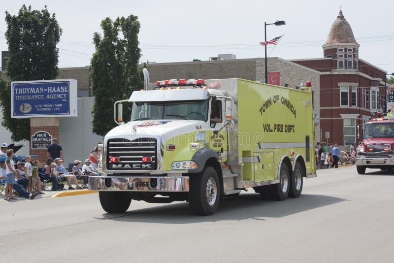 Stad av Oneida Volunteer Fire Department Truck Front View arkivbilder