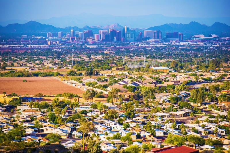 Stad av Phoenix panorama royaltyfri fotografi
