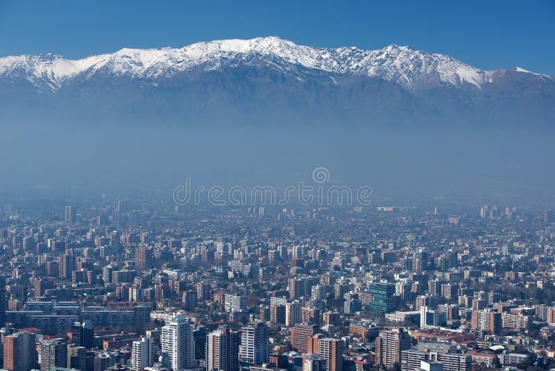 Stad av Santiago, huvudstad av Chile. arkivfoton