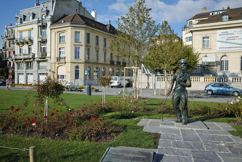 Stad av Vevey och monument av Charlie Chaplin, kanton av Vaud arkivfoton