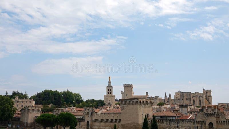 Stad Avignon met Palace van de Popes, Frankrijk stock foto