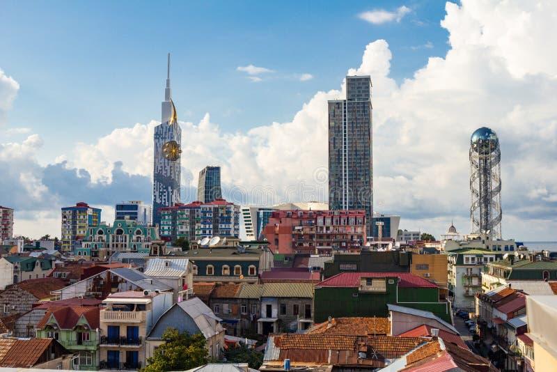 Stad Batumi som för bästa sikt lokaliseras på kusten Black Sea Begrepp för semesterferielopp Georgia Batumi, September 2018 royaltyfri bild