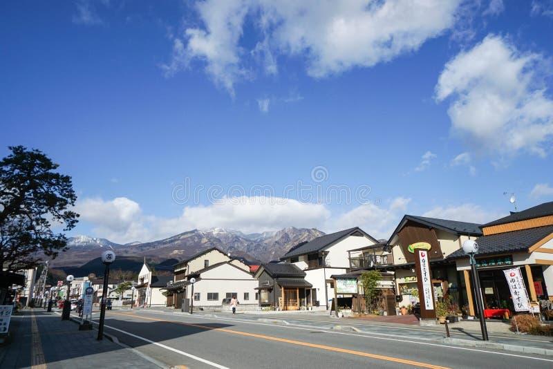 Stad bij de heuvel in Nikko Japan wordt genomen dat royalty-vrije stock afbeelding