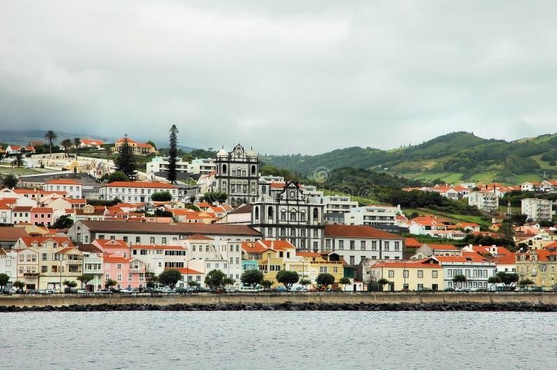 Stad bij de kust van de Azoren royalty-vrije stock afbeeldingen