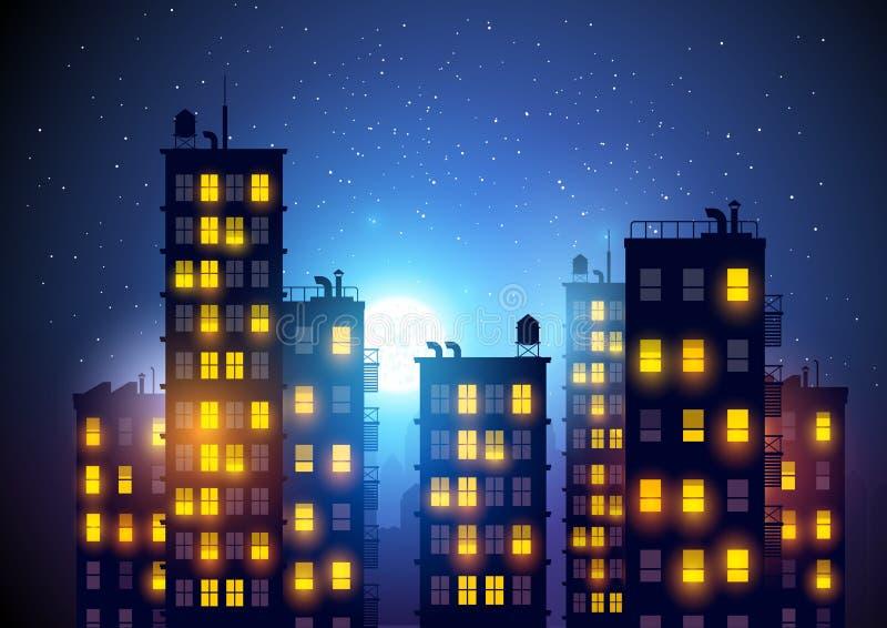 Stad bij nacht royalty-vrije illustratie