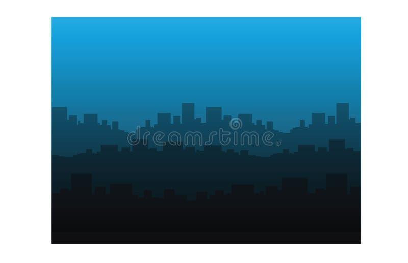 Stad bij nacht van ver weg stock illustratie