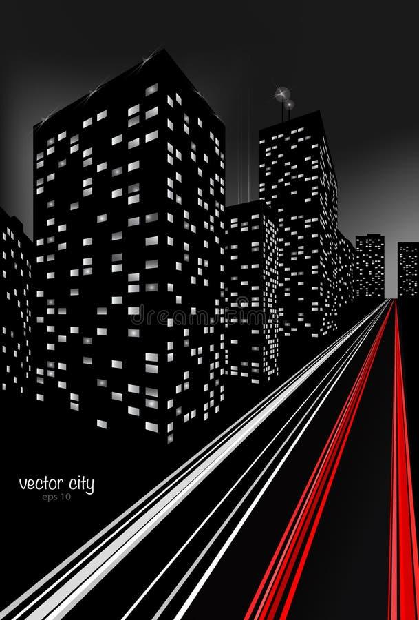 Stad bij Nachtillustratie royalty-vrije illustratie