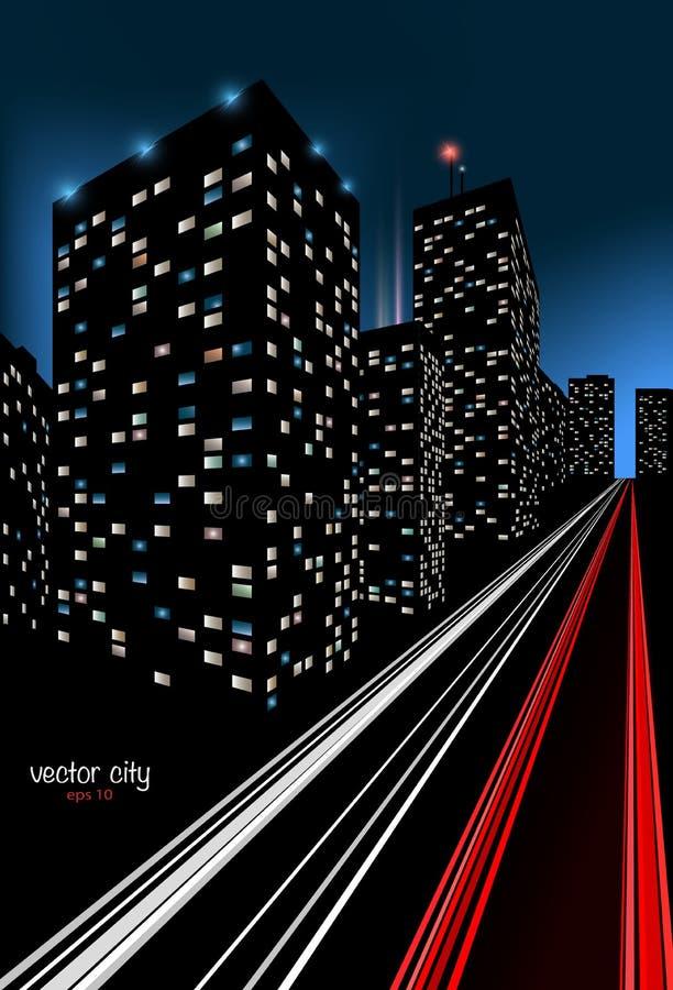 Stad bij Nachtillustratie stock illustratie