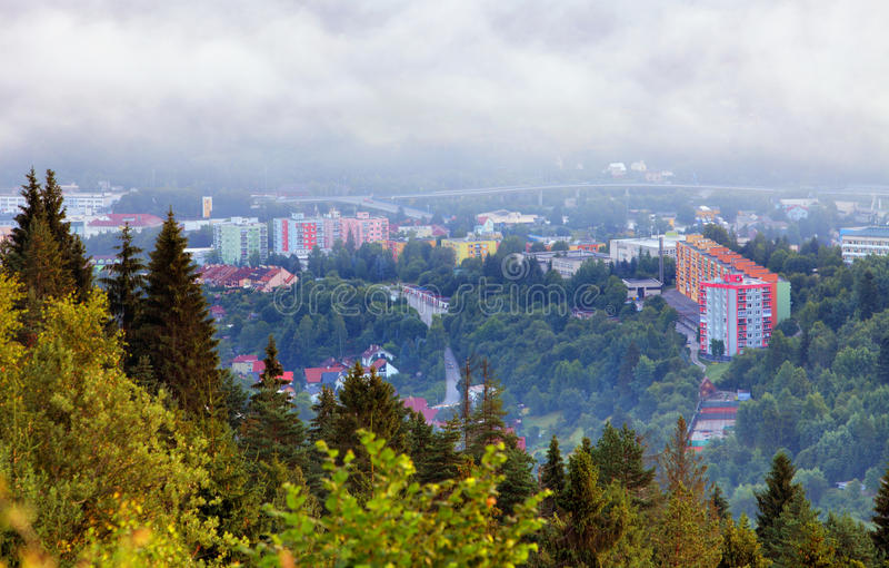 Stad Cadca i Slovakien arkivbilder