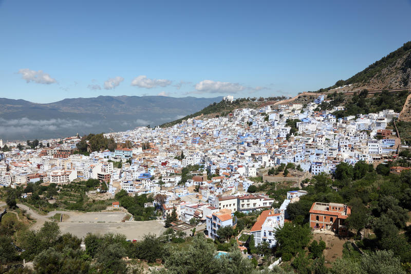 Stad Chefchaouen i Marocko arkivbild