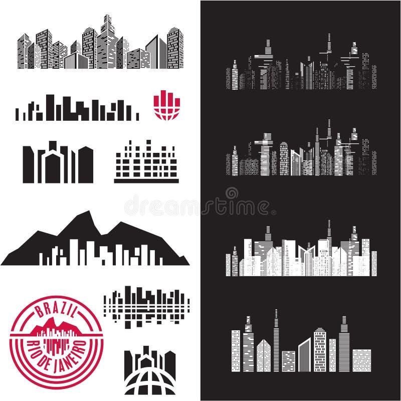 Stad Cityscape gebouwen royalty-vrije illustratie