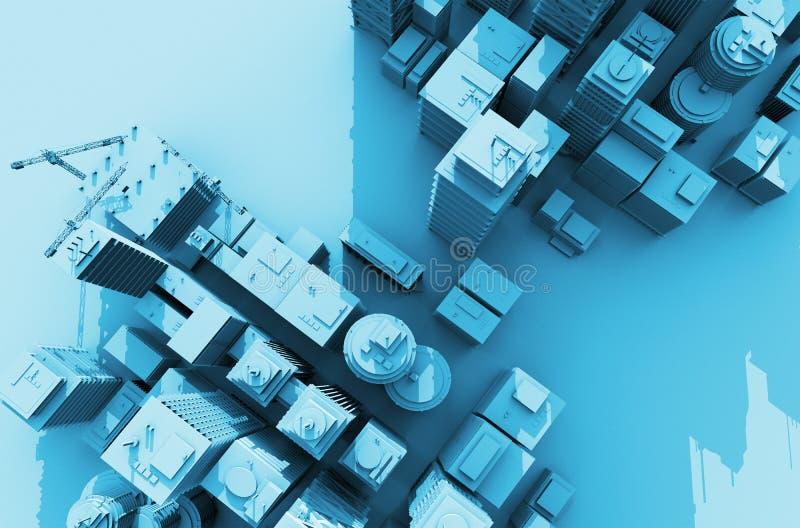 Stad 3D från över stock illustrationer