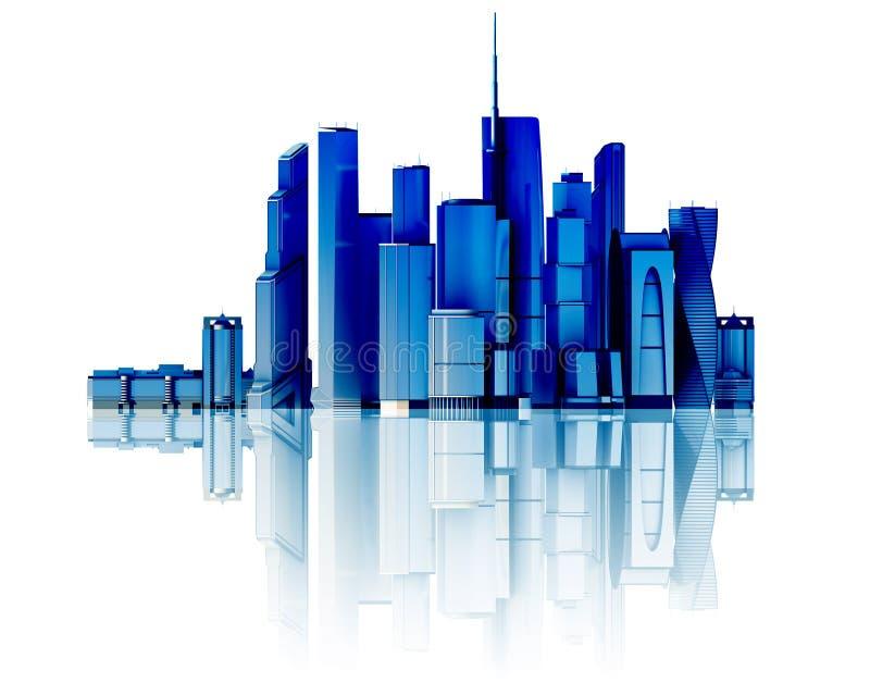 stad 3d på spegelgolv vektor illustrationer