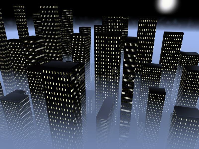 Stad in de mist royalty-vrije illustratie