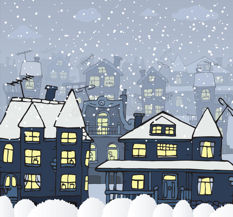Stad in de nacht (de Winter) stock illustratie