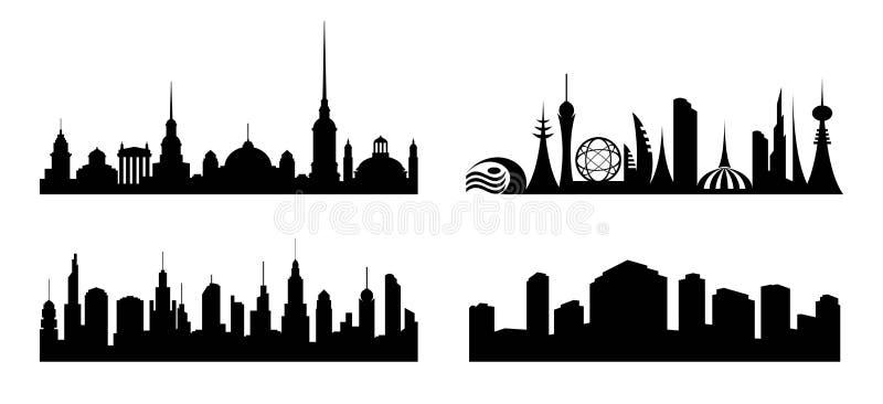 Stad De reeks silhouetteert diverse steden royalty-vrije illustratie