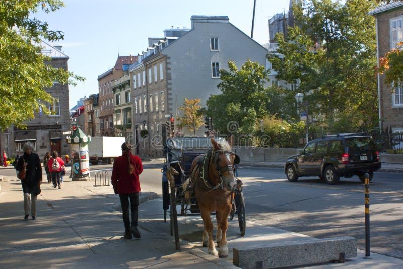 Stad de van de binnenstad van Quebec bij de ochtend royalty-vrije stock fotografie