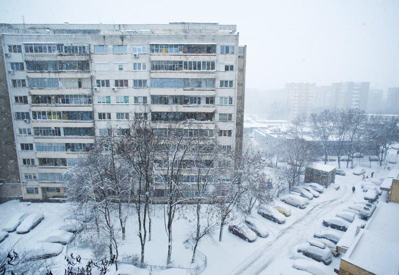 Stad in de winter royalty-vrije stock afbeeldingen