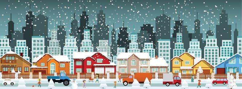 Stad in de winter (Kerstmis) vector illustratie