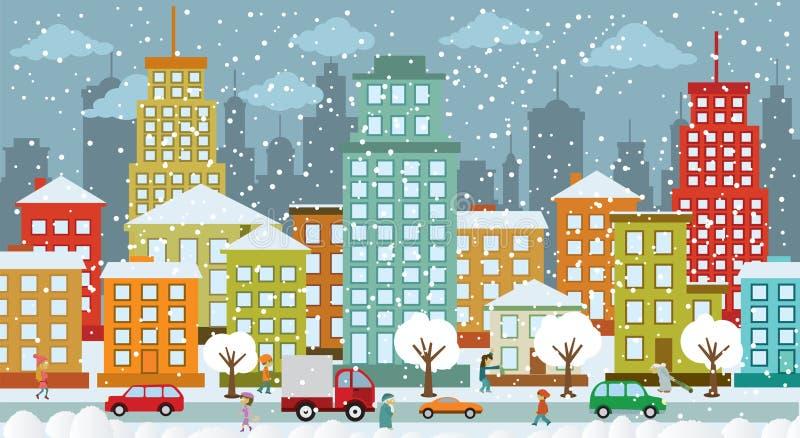 Stad in de winterdagen vector illustratie