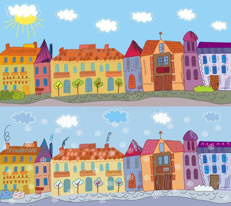 Stad in de zomer en de winter vector illustratie