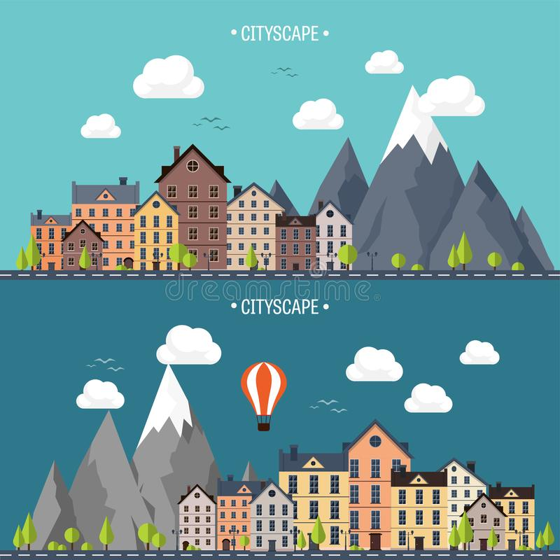 Stad in de zomer Stedelijk landschap met bergen Stad Bergpiek, sneeuw Huis in dorp weer royalty-vrije illustratie