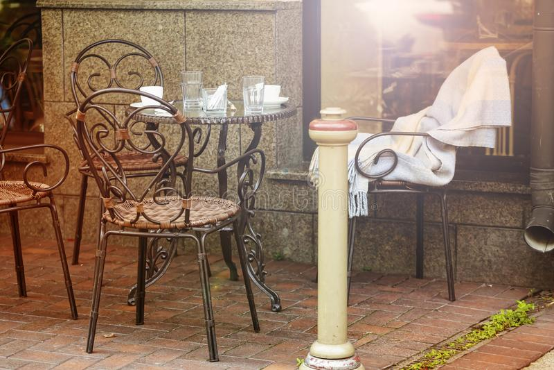 Stad, de zomer, terras, restaurant, openlucht, Europa, lijst, koffie, stock afbeelding