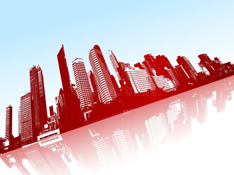 Stad die in het water wordt weerspiegeld. vector illustratie