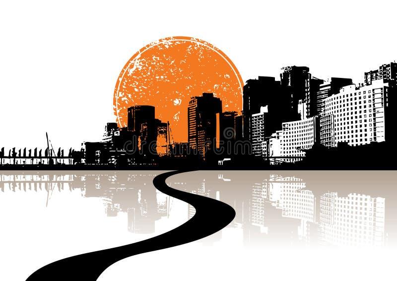 Stad die in het water wordt weerspiegeld. royalty-vrije illustratie