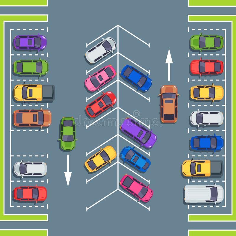 Stad die hoogste mening parkeren Parkruimten voor auto's, de streek vectorillustratie van het autoparkeren stock illustratie