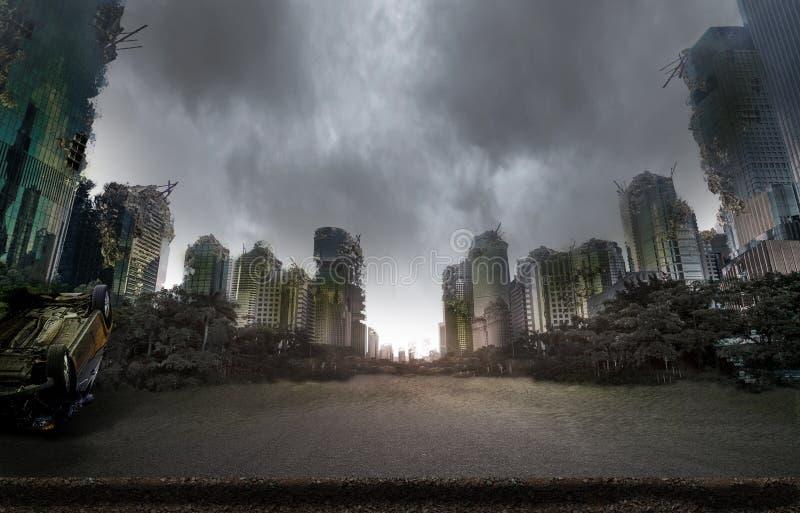 Stad door oorlog wordt vernietigd die stock afbeeldingen