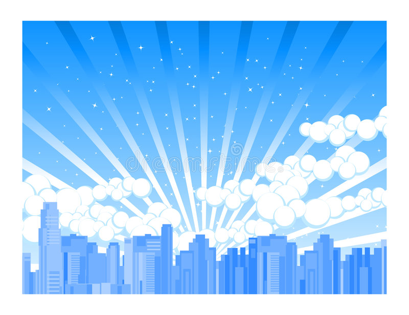 Stad door Schemer stock illustratie