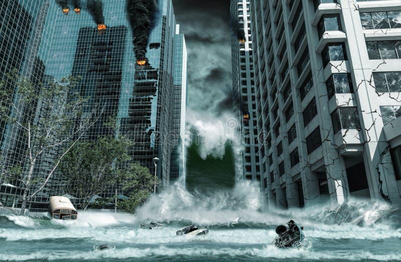 Stad door Tsunami wordt vernietigd die stock foto