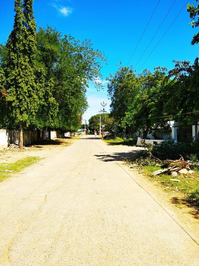 Stad/dorpsstreewegen in Zuid-India stock fotografie