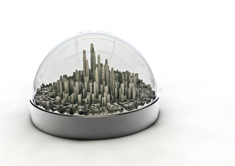 Stad in een bol royalty-vrije illustratie