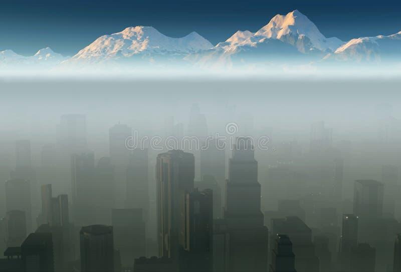 Stad in een mist royalty-vrije illustratie