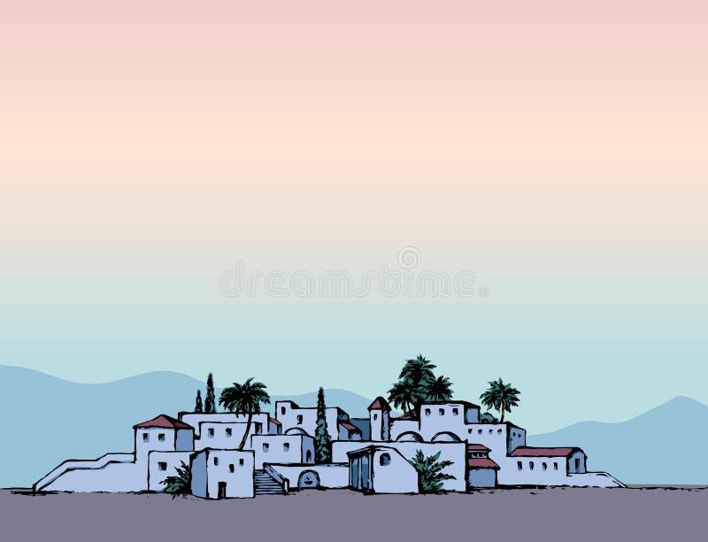 Stad in een woestijn Vector tekening royalty-vrije illustratie
