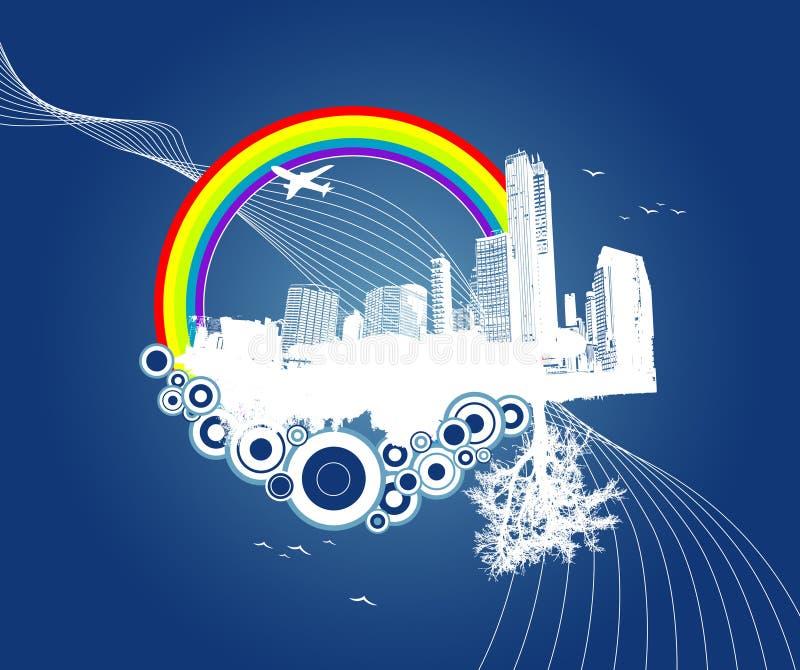 Stad en aard met cirkels. stock illustratie