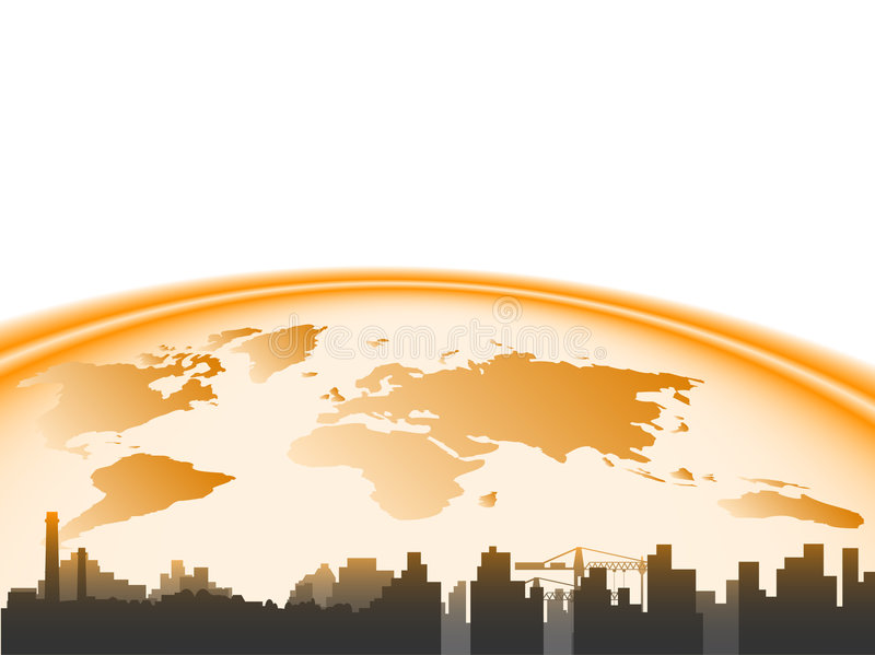 Stad en aarde vector illustratie