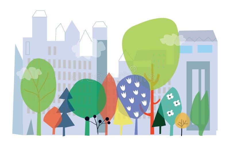 Stad en aardecologie - conceptenillustratie met, flo vector illustratie